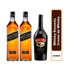 JOHNNIE WALKER - Set x2 Botellas Johnnie Walker Black Label 700 ml + 1 Botella Baileys 700 ml