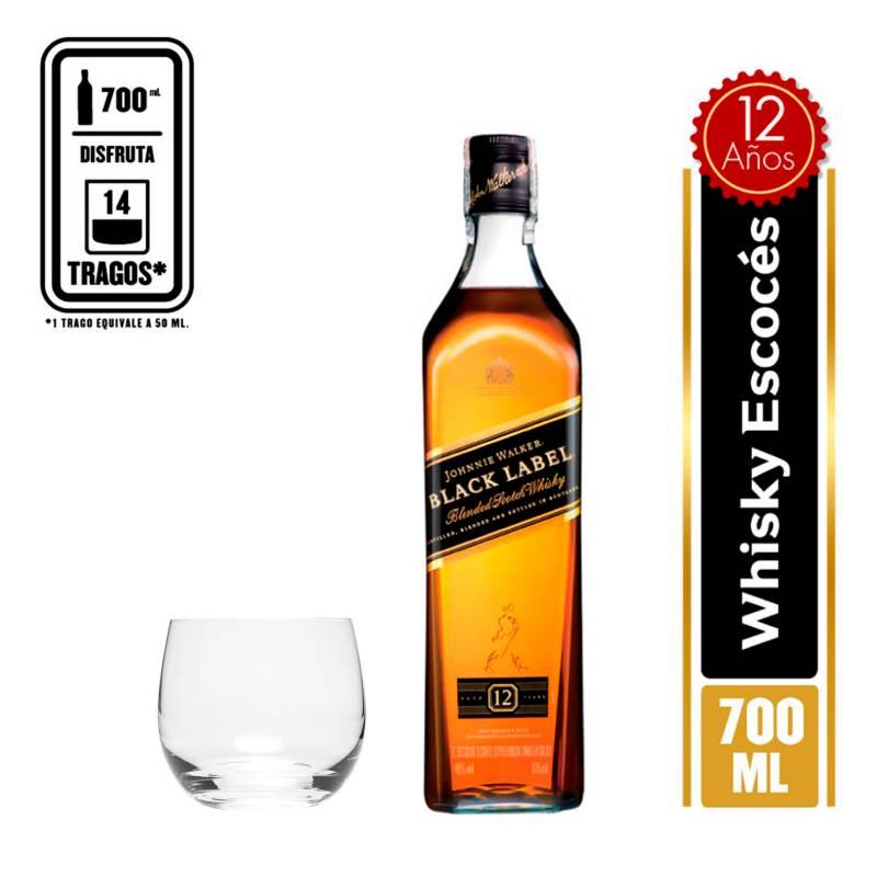 JOHNNIE WALKER - Botella de JW Black Label + Set x6 Vasos Cortos Banquet