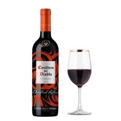Casillero Del Diablo - Botella de Vino Casillero del Diablo Devilish Carmenere + Set x4 Copas Tinto Rim