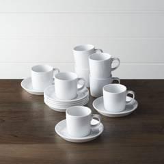 Crate & Barrel - Setx 8 Mugs de Café Espresso Verge con Plato Base 9 cm.