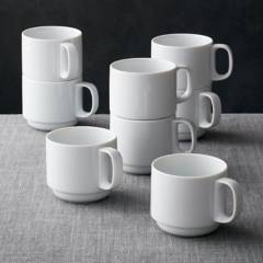 Crate & Barrel - Set x 8 Mugs Apilables Logan 9 cm