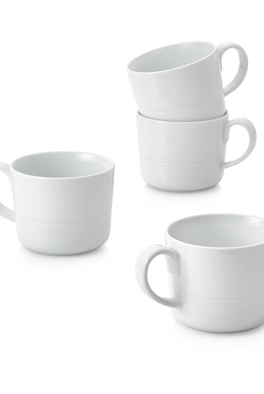 Crate & Barrel - Juego de 4 Mugs Hue Blanco