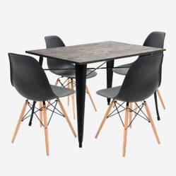 Mica - Mesa de comedor Alton + 4 Sillas Bilund Negras