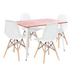 Mesa de comedor Alton + 4 Sillas Bilund Blancas