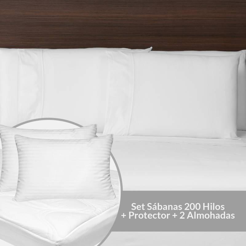 Basement Home - Set Sábanas 200 Hilos Queen + Protector + 2 Almohadas