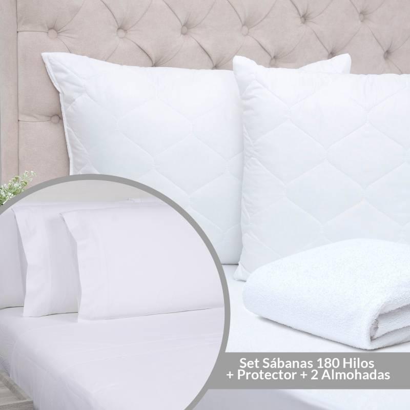 Mica - Set Sábanas 180 Hilos Sencillo + Protector + 2 Almohadas