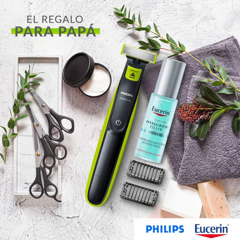 Eucerin - Set Hidratante facial Eucerin Hyaluron Booster Gel Hidrata 30 ml + Afeitadora One blade QP2521 Philips 2 pieza