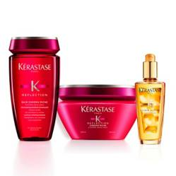 Kerastase - Kit Cuidado Color: Shampoo Chromatique Riche + Mascarilla Chromatique Cabello Gueso Gratis Mini Elixir Lujo Y Caja Regalo