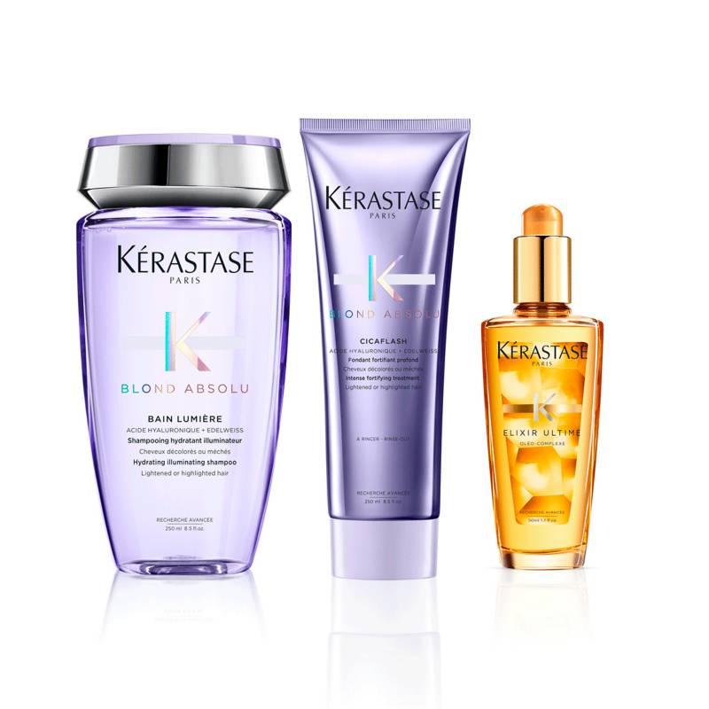 Kerastase - Kit Cuidado De Rubios: Shampoo Bain Lumiere + Acondicionador Cicaflash Gratis Mini Elixir Lujo y Caja Regalo