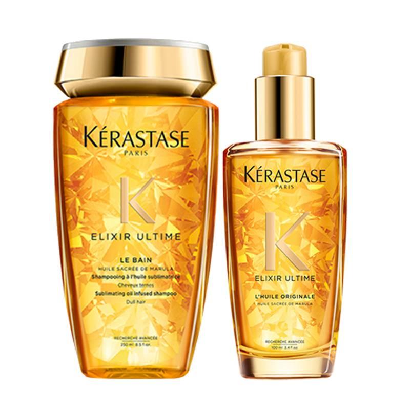 Kerastase - Kit Brillo Sin Precedentes: Shampoo Bain Elixir Ultime 250 ml + Aceite Elixir Ultime Original 100 ml