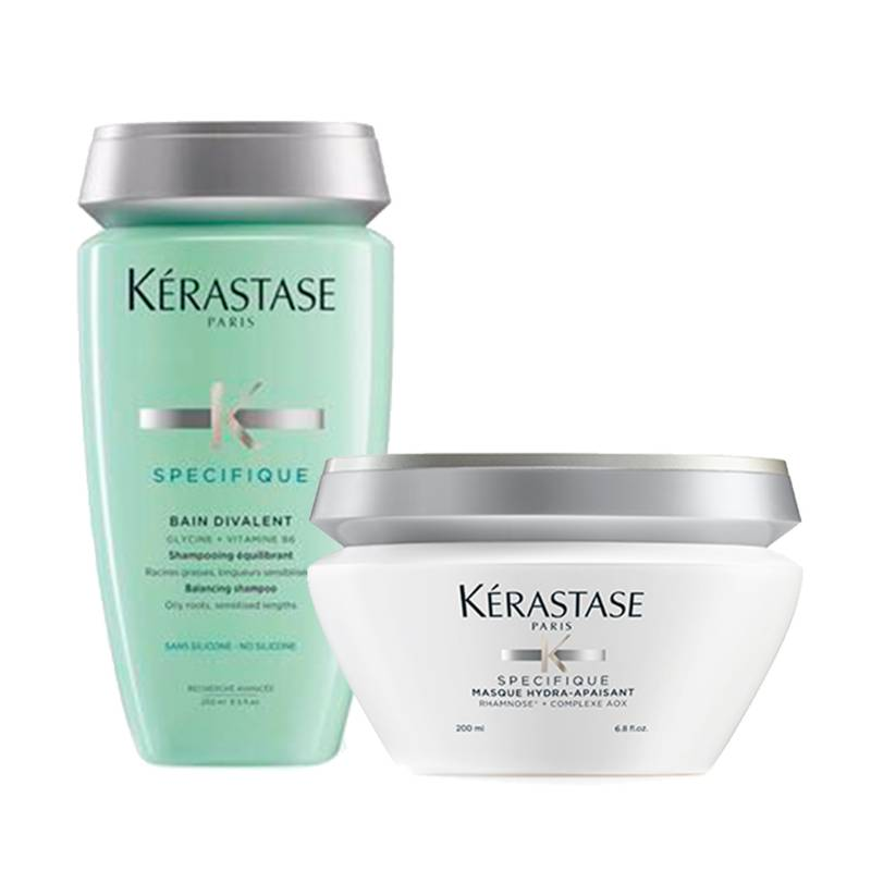 Kerastase - Kit Cuero Cabelludo Graso: Shampoo Bain Divalent 250 ml + Mascarilla Masque Hydra Apaisant 200 ml