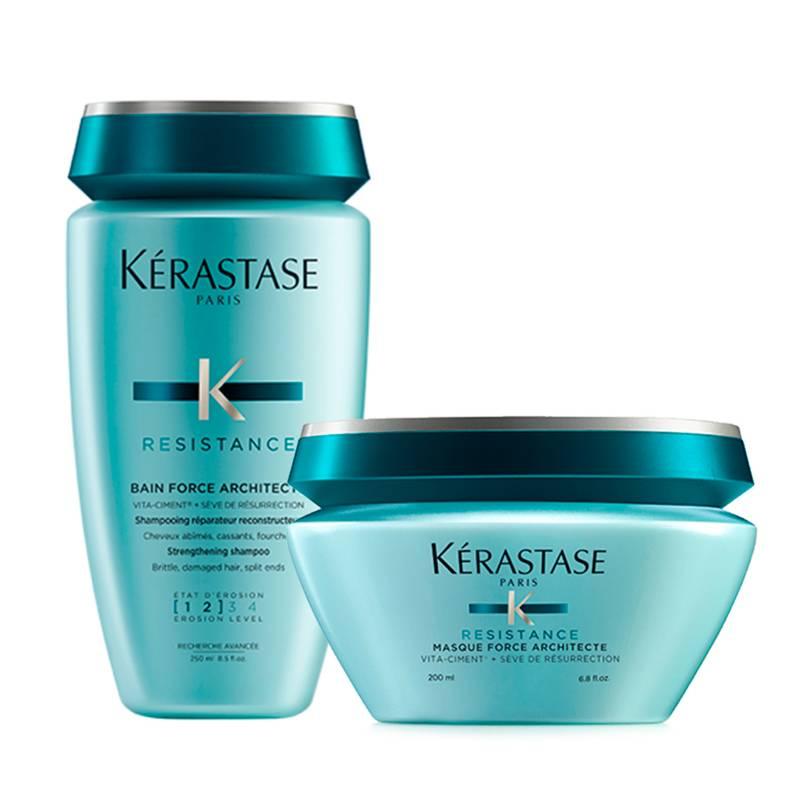 Kerastase - Kit Reparación Force Architect: Shampoo Bain Force Architect 250 ml + Mascarilla Force Architect 200 ml