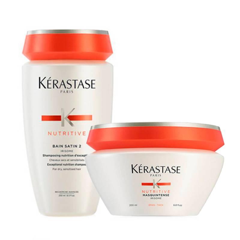 Kerastase - Kit Nutrición Cabello Grueso: Shampoo Bain Satin 2 250 ml + Mascarilla Masquintense Grueso 200 ml