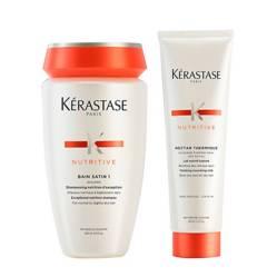 Kerastase - Kit Nutrición Cabello Fino: Shampoo Bain Satin 1 250 ml + Texturizante Nectar Thermique 150 ml