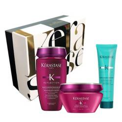 Kerastase - Set Cuidado Color: Shampoo Chromatique Riche + Mascarilla Chromatique Cabello Gueso Gratis Thermique Extentioniste 150 ml + Caja Regalo