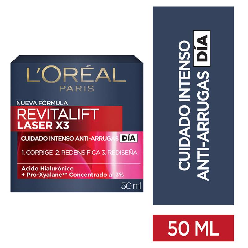 L´ORÉAL PARIS SKIN CARE - Crema de día anti-arrugas Revitalift Laser 50 ml