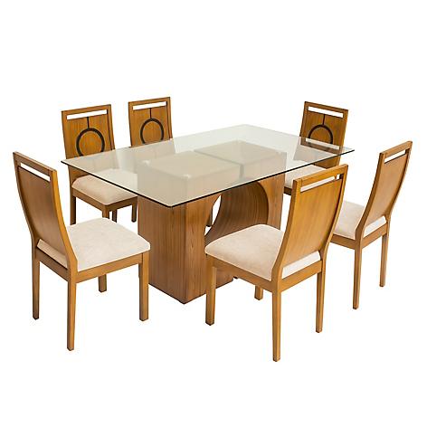 Juego de comedor mica oporto con 6 sillas for Comedores falabella chile