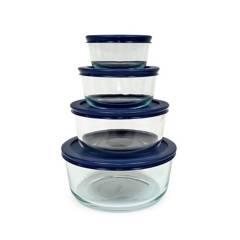 PYREX - Set x4 Bolos Azul con Tapa