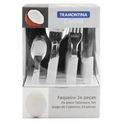 TRAMONTINA - Juego de Cubiertos x 24 Piezas Carmel Blanco