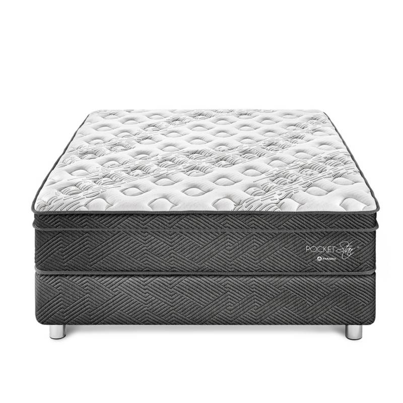 PARAÍSO - Cama Box Tarima Pocket Star Queen + 2 Alm + Prot