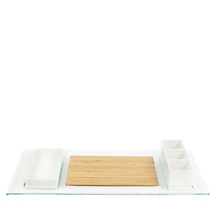 Set Piqueo 6 Piezas Tabla+4bowl+Base
