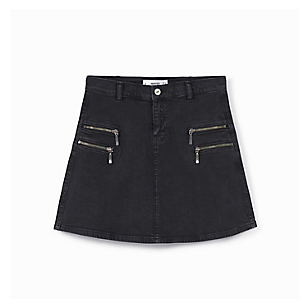 Falda Zipper Denim Negro