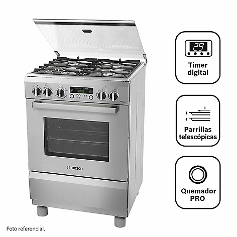 Cocina Bosch 4 Quemadores Pro465 Inox