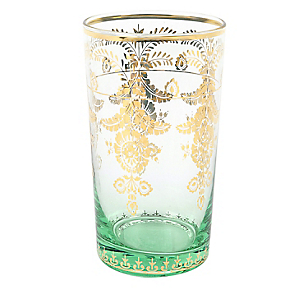 Vaso Alto Decal Gold Verde
