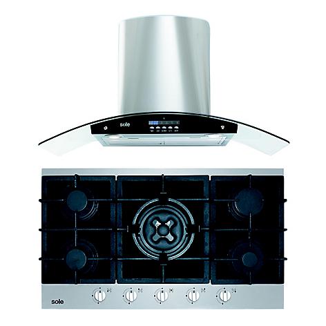 e6c59c1e788f9 Combo  Cocina Empotrable 5 Hornillas SOLCO039 Inox + Campana con Filtro  TURE63CO 3 Velocidades