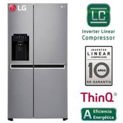 LG - Refrigeradora LG Side by Side con Conectividad Wi-Fi 601 LT GS65SPPN Plateada