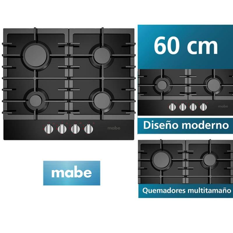 MABE - Encimera a gas Mabe  4 Quemadores Vidrio Negro