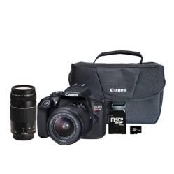 CANON - Cámara T6 con Lente 18-55mm + Lente EF75-300mm III + Memoria + Maletín
