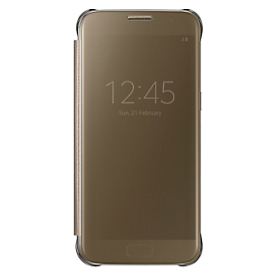 Clear View Cover Galaxy S7 Dorado