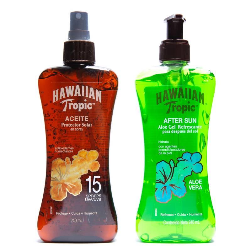 HAWAIIAN TROPIC - Gel Aloe Vera 240 ml + Aceite FPS 15 240 ml
