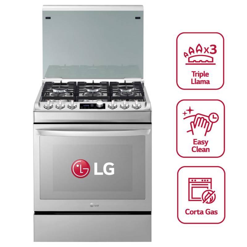 LG - Cocina RSG316T Gas 6 Hornillas Azul
