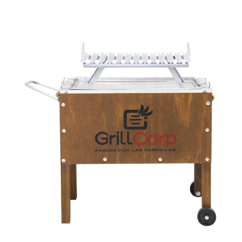 GRILLCORP - Caja China Mediana Junior Clasica Galvanizada+ Parrilla V Niqueladas