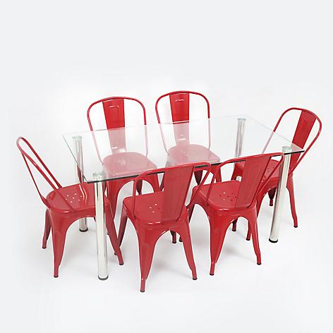Mesa lissa s ziyaz 6 sillas vintage roja for Comedores falabella chile