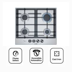 BOSCH - Encimera 4 hornillas acero inoxidable PCP6A5B90V