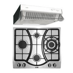 SOLE - Combo: Cocina Empotrable 4 Hornillas SOLCO037 + Campana Extractora  TURE11GO  3 velocidades