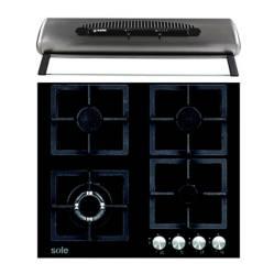 SOLE - Combo: Cocina Empotrable SOLCO040 60 cm 4 Hornillas + Campana Helena  TURE48CO  60 cm