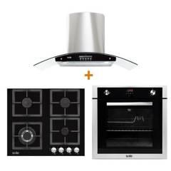 SOLE - Combo: Cocina Empotrable SOLCO040 60 cm 4 Hornillas + Campana con Filtro TURE63CO 3 Velocidades + Horno Empotrable a Gas SOLHO007 Grill y Rosticero