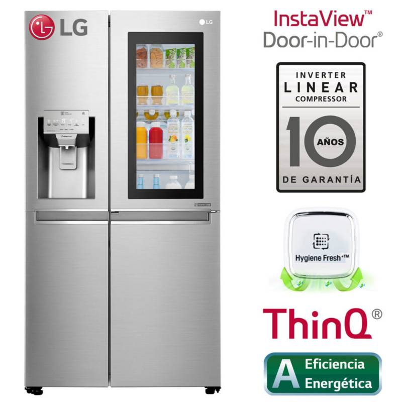 LG - Refrigeradora LG Side by Side InstaView Puerta Mágica 601 LT LS65SXN Acero
