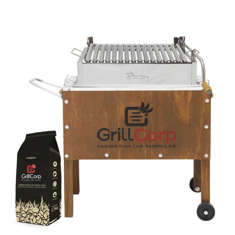 GRILLCORP - Caja China Mediana Jr Clásica + Sistema de levante Niquelada + Carbón