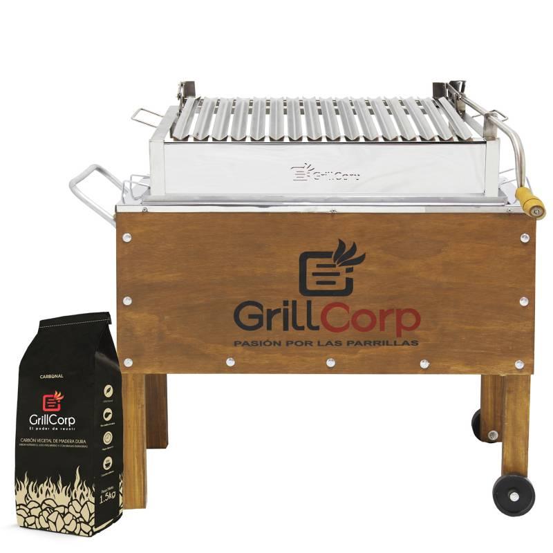 GRILLCORP - Caja china Mediana Inox + Sistema de levante Niquelada + Carbón
