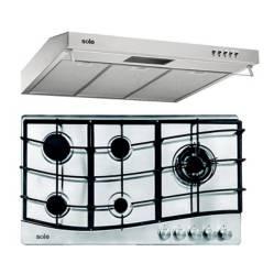 SOLE - Combo: Cocina Empotrable 5 Hornillas Acero 86 cm Inox + Campana Roma TURE17CO 90 cm 2 Motores Inox