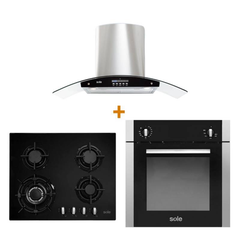 SOLE - Combo: Cocina Empotrable SOLCO034 4 Quemadores + Campana con Filtro TURE63CO 3 Velocidades + Horno a Gas SOLHO009