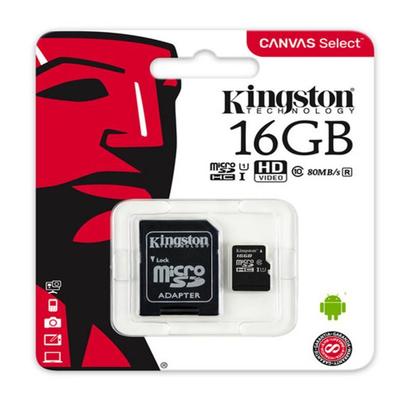 KINGSTON - Memoria Micro SD Kingston Canvas 16GB Clase 10 UHS-I