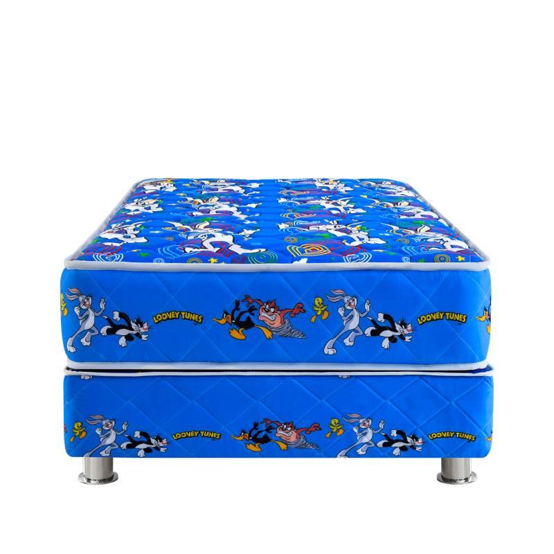 FORLI - Cama Box Tarima Looney Tunes Azul 1.5 Plz