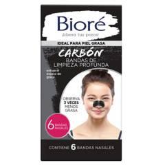 BIORE - Bandas Limpieza Nasal Profunda con Carbón Natural 6 Und
