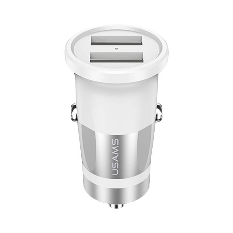 USAMS - Cargador Auto Dual 3.4 Blanco